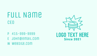 Teal Snare Drum  Business Card