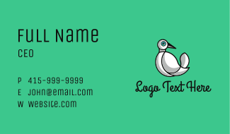 White Dove Outline Business Card