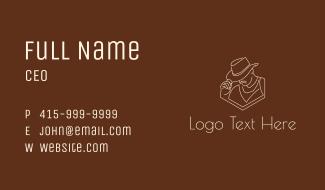 Sheriff Hat Line Art Business Card