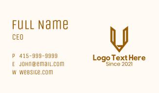 Letter V Pencil Outline Business Card