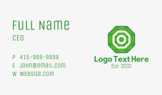 Green Geometric Octagon Business Card