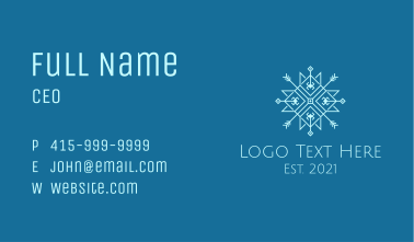 Blue Geometric Snowflake Business Card