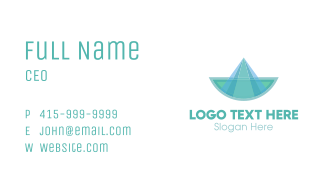 Blue Green Abstract Boat Business Card