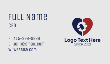 Justice Gavel Heart  Business Card