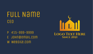 Gold Islamic Letter  Business Card