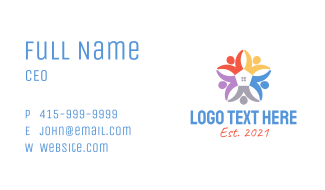 Multicolor Charity Home  Business Card