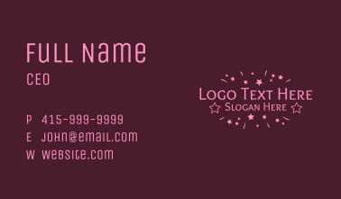 Pink Festive Star Wordmark  Business Card