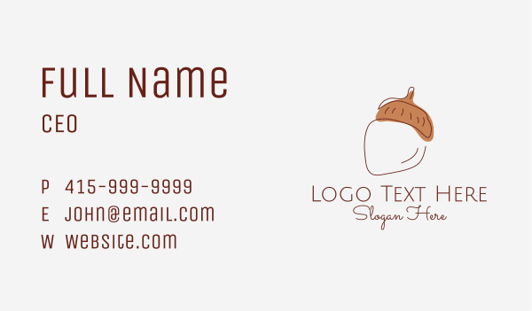 acorn - Acorn Nut Line Art Business card horizontal design