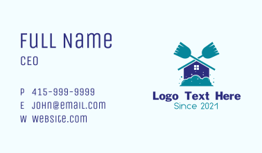 Home Cleaning Broom Business Card