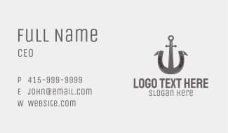 Gray Horseshoe Anchor  Business Card