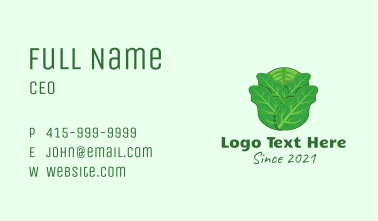 Green Leafy Cabbage Business Card