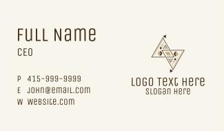 Brown Geometric Aztec Pattern Business Card
