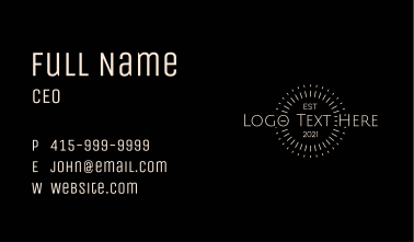 White Retro Rays Wordmark Business Card