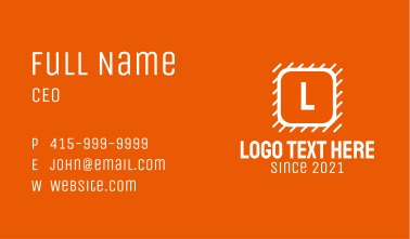 White Construction Letter Business Card