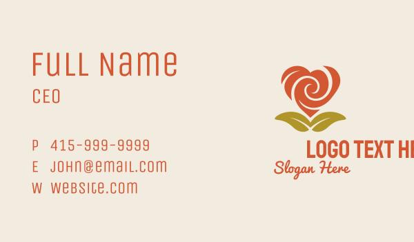 delicate - Rose Heart Flower Business card horizontal design