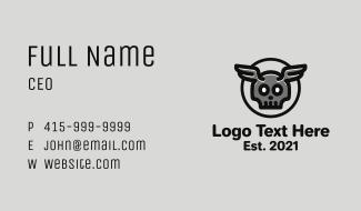 Horns Skull Wings Business Card