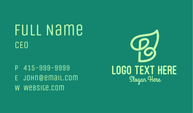 Green Organic Letter B  Business Card