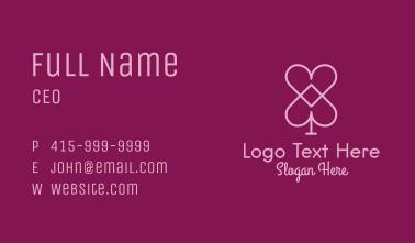 Pink Heart Spade  Business Card