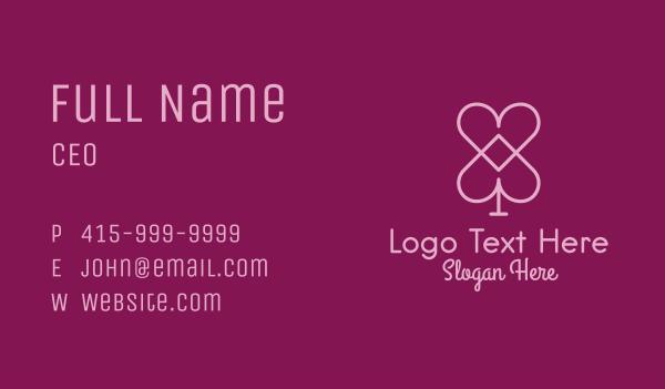 cards - Pink Heart Spade  Business card horizontal design