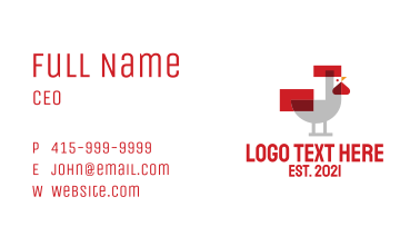 Pixel Rooster Poultry Business Card