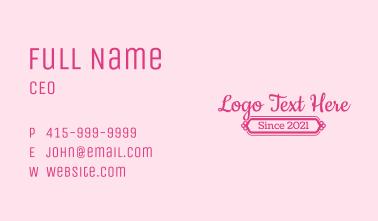 Fancy Girly Wordmark Business Card