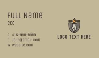 Torch Fountain Pen Business Card