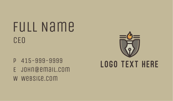 wisdom - Torch Fountain Pen Business card horizontal design