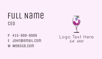 Grapes Wine Glass  Business Card