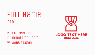 Red Eye Hourglass  Business Card