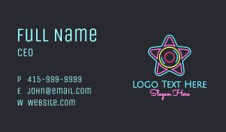 Neon Star Disc Business Card
