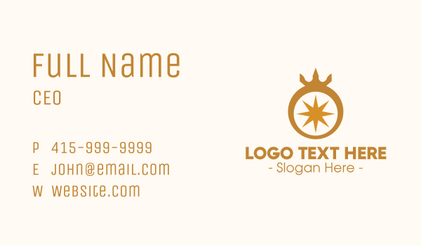 treasure - Gold Ring Crown Business card horizontal design