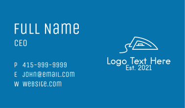 White Outline Iron  Business Card