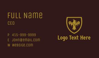Gold Medieval Bird Shield  Business Card