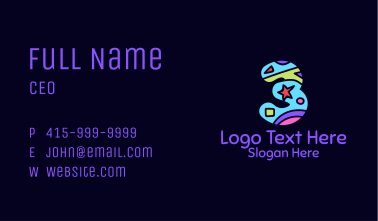 Colorful Shapes Number 3 Business Card