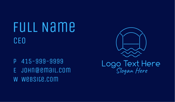 swimming pool - Blue Minimalist Pool  Business card horizontal design