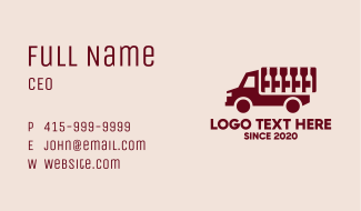 Wine Delivery Truck Business Card