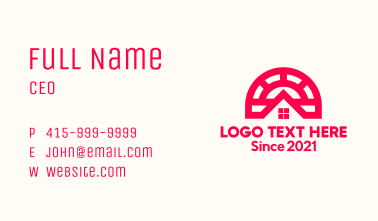 Red Subdivision House Business Card