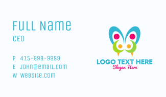 Colorful Viper Butterfly Business Card