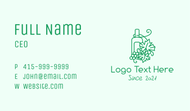 Winemaking Grape Orchard  Business Card