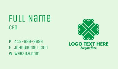 Green Heart Shamrock  Business Card