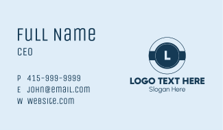Navy Blue Letter Business Card