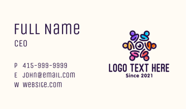Colorful Group Video Meeting Business Card