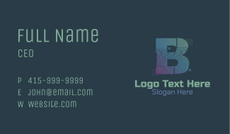 Modern Glitch Letter B Business Card