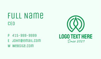 Green Flower Sprout Business Card