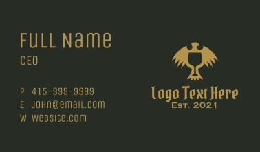 Gold Medieval Eagle Goblet Business Card