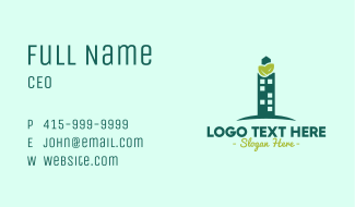 Green Skyscraper Business Card