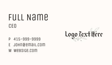 Floral Blackletter Wordmark Business Card
