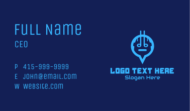 Blue Android Location Pin Business Card
