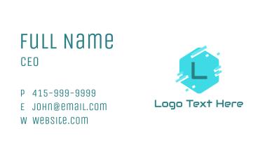 Hexagon Pixelated Letter Business Card