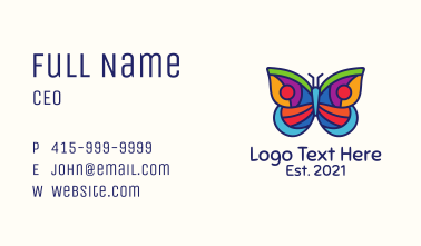 Colorful Stained Glass Moth Business Card